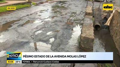 Pésimo estado de la avenida Molas López