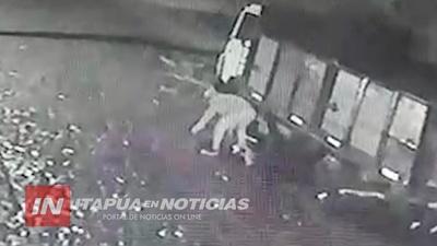 NI LA LLUVIA DETIENE A LADRÓN DE BATERÍA DE CAMIÓN