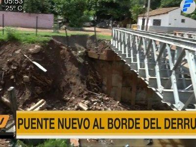 Puente instalado por el MOPC corre riesgo de derrumbe en Lambaré