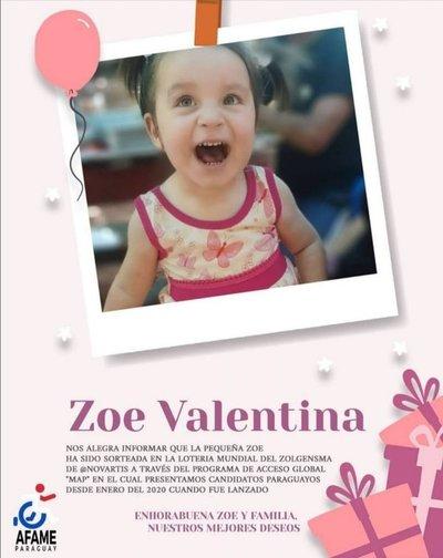 Zoe una pequeña que padece de AME también recibirá el medicamento Zolgensma