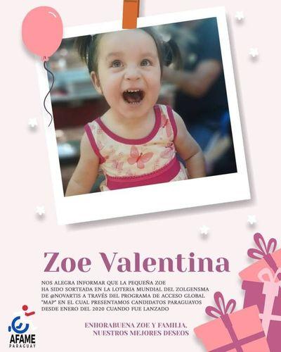 Zoe también recibirá el Zolgensma