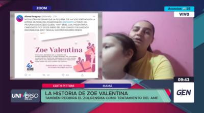 HOY / Zoe Valentina  también recibirá el Zolgensma como tratamiento de la AME