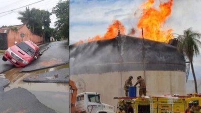 """Incendio y lluvias dejan imágenes """"apocalípticas"""""""