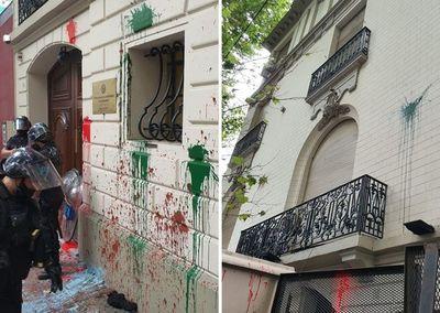 Volvieron a atacar la embajada paraguaya en Argentina