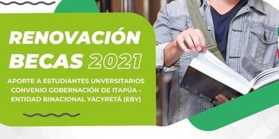 CONVOCATORIA PARA LOS TRÁMITES DE RENOVACIÓN DE LAS BECAS DEL CONVENIO EBY-GOBERNACIÓN DE ITAPÚA