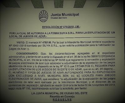 ¿Cuánto COSTO la AUTORIZACIÓN municipal para el CASINO ELECTRÓNICO otorgado a LAVADORES de DINERO…?