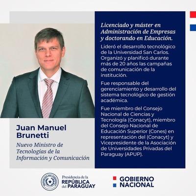 Presidente designa a Juan Manuel Brunetti como nuevo ministro del MITIC