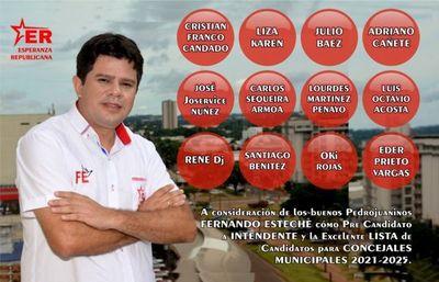 Esperanza Republicana inscribió a Fernando Esteche como pre candidato a la intendencia de Pedro J. Caballero para las internas de la ANR