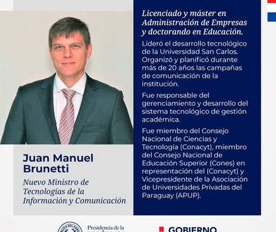 Designan a Juan Manuel Brunetti como nuevo ministro de MITIC