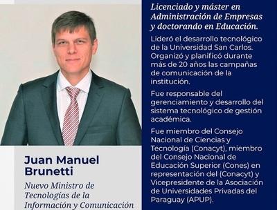 Juan Manuel Brunetti es el nuevo ministro de MITIC