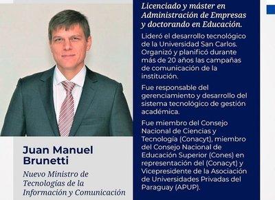 Juan Manuel Brunetti es designado ministro de Mitic