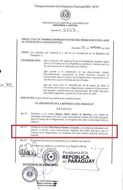 Abogado de Villamayor es suplente del Ejecutivo ante el Consejo de la Magistratura