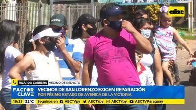 Vecinos de San Lorenzo exigen reparación