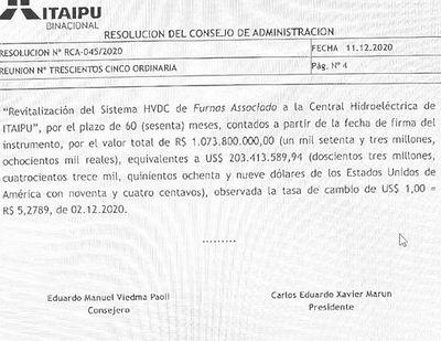ANDE pedirá  US$ 203 millones a la Itaipú