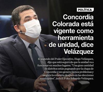 Concordia Colorada está vigente como herramienta de unidad, dice Velázquez