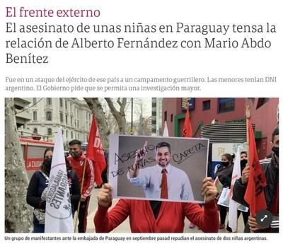 Medio argentino señala «tensión» en las relaciones con Argentina por el caso de las niñas asesinadas
