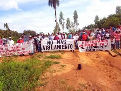 Piden traslado de puente del km 14 al 24 Monday, en Minga Guazú