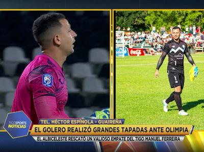 Héctor Espínola, uno de los destacados en el empate de Guaireña ante Olimpia