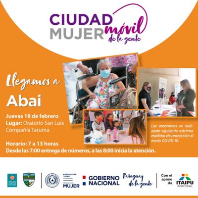Ciudad Mujer Móvil prestará servicios este jueves en Abai, Caazapá