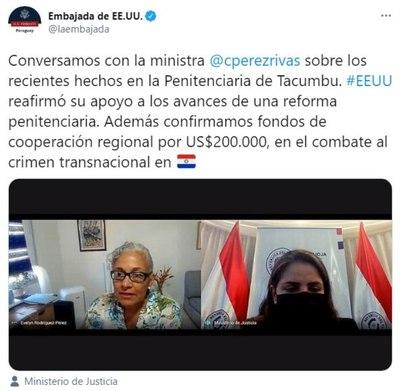 En medio rumores de que le serruchan la silla, ministra Pérez recibe respaldo de EE.UU. por reforma penitenciaria