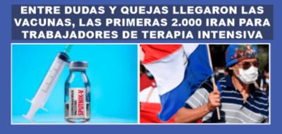 LLEGARON LAS VACUNAS AL PARAGUAY, LAS PRIMERAS 2000 SERAN PARA TRABAJADORES DE TERAPIA INTENSIVA