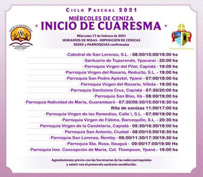 Horario de imposición de cenizas en Parroquias de Diócesis de San Lorenzo