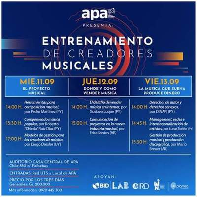 APA: Hará capacitación para creadores musicales