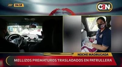 Bebés prematuros son trasladados en patrullera hasta un hospital