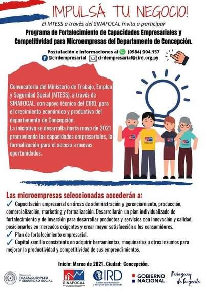 Concepción: Lanzan concurso para microempresas