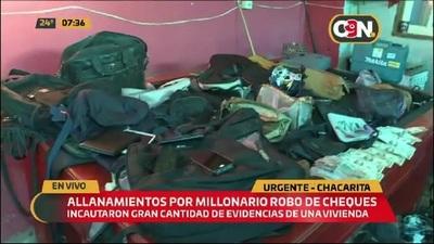 Chacarita: Detienen a presuntos tortoleros tras allanamientos por millonario robo de cheques