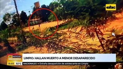 Hallan muerto a menor desaparecido en Limpio