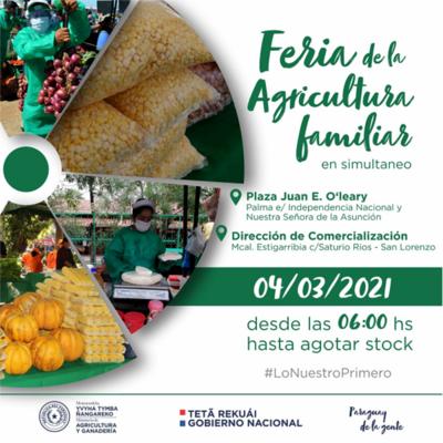 Feria de la Agricultura Familiar Campesina se realizará este jueves en Asunción y San Lorenzo