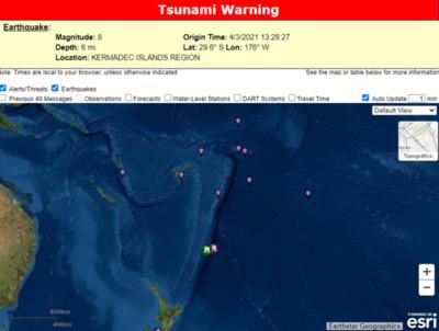 Alerta de tsunami por un nuevo terremoto de 8 grados en Nueva Zelanda