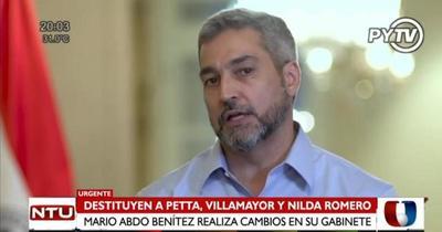 Mario Abdo destituye a Petta, Villamayor y Nilda Romero