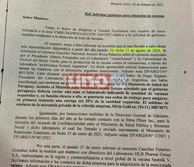 Argentina ofreció vacunas, pero no hubo respuesta por parte de Paraguay