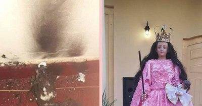 La Nación / Restauran imagen de Virgen del Rosario que fue quemada por un inadaptado