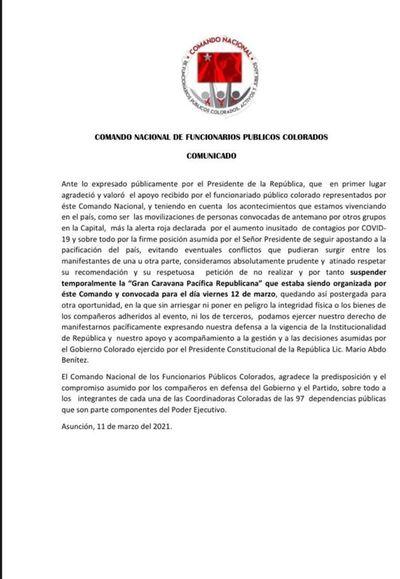 """Colorados suspenden movilización """"por pedido"""" de Mario Abdo"""
