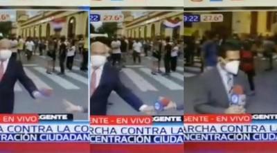 Pifiada de Telefuturo y NPY en 'monumental' despliegue de cobertura de marcha ciudadana
