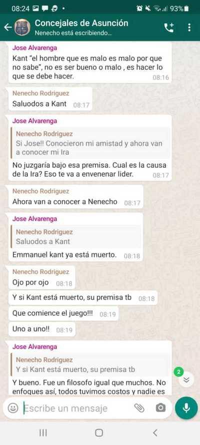 """Filtran chat de WhatsApp en el que Nenecho """"desafía"""" a concejales"""