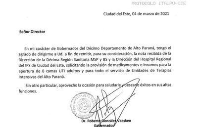 Piden a Itaipú que provea medicamentos e insumos para pacientes con Covid en el Este