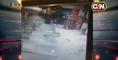 Revelan video de la explosión del cajero en supermercado