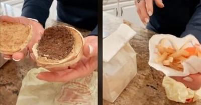Guardó una hamburguesa con un paquete de papas fritas durante 20 años y ahora mostró su estado en TikTok