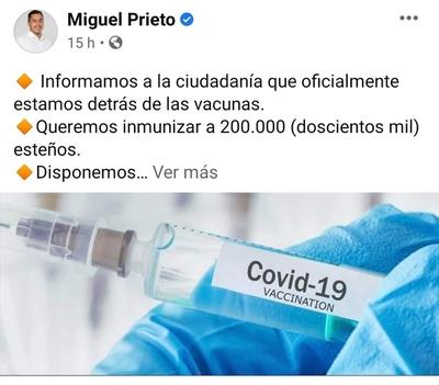 """Tildan de """"irresponsable y populista"""" a intendente por anunciar la compra de vacunas"""