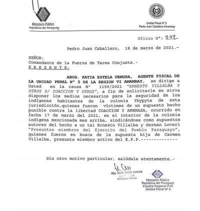 Indígenas denuncian que integrantes del EPP vienen de Argentina