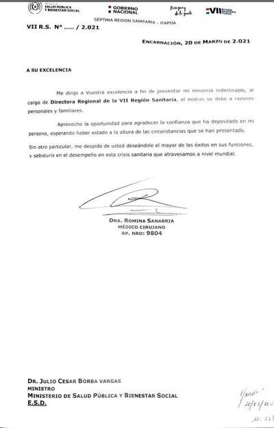 Renuncia directora de la Región Sanitaria de Itapúa
