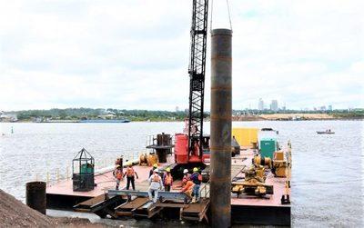 Puente Héroes del Chaco: Colocan primeros pilotes en el río Paraguay