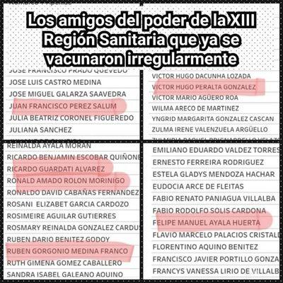 Filtran los nombres de médicos que se vacunaron irregularmente en la XIII Región Sanitaria