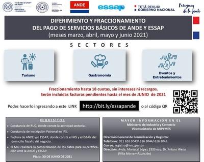 Sectores afectados podrán registrarse para diferir pago de servicios básicos