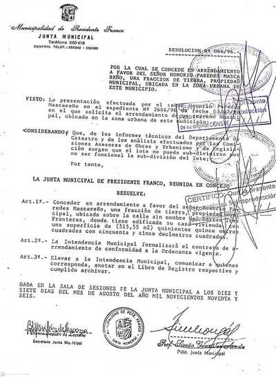 Inmobiliaria de poderosos empresarios pretende usurpar terreno municipal en Presidente Franco