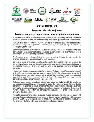 Gremio empresarial advierte sobre macabra lucha por el poder y pide paz y unión contra la pandemia